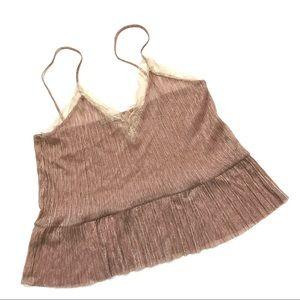 Zara Shimmer metallic lace trim camisole tank L